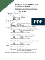 Tour Report Format