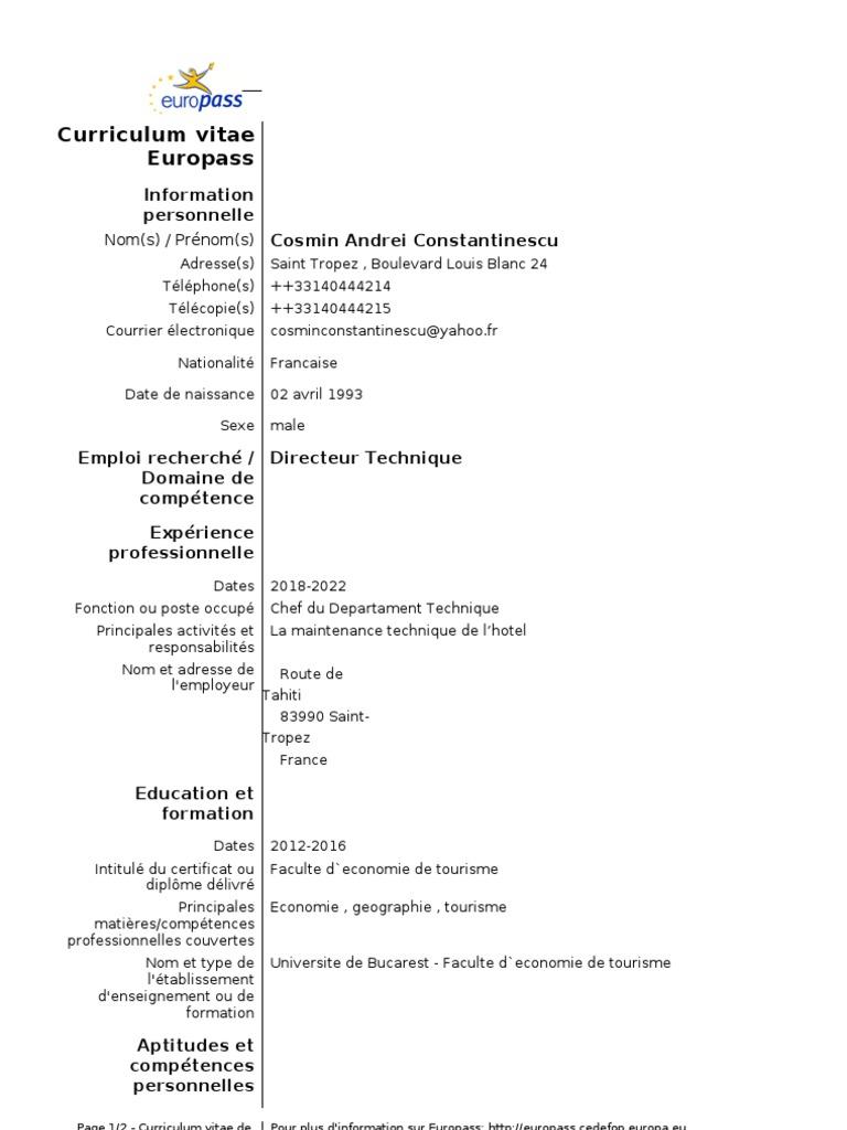 curriculum vitae europass completat in franceza