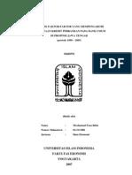 ANALISIS FAKTOR-FAKTOR YANG MEMPENGARUHI PERMINTAAN KREDIT PERBANKAN PADA BANK UMUM DI PROPINSI JAWA TENGAH(periode 1990 – 2005)