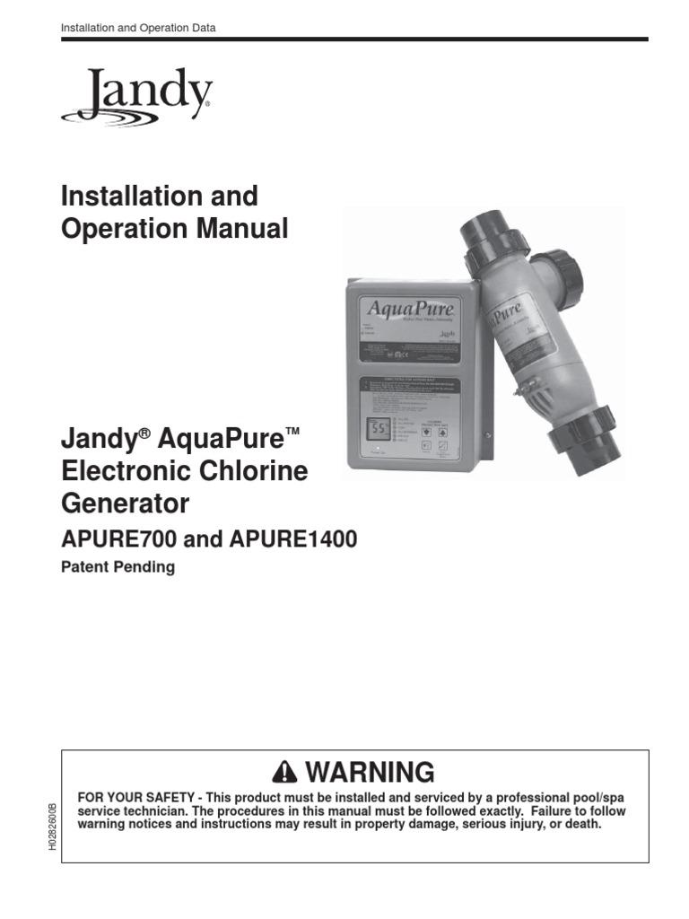 Jandy Aquapure Manual Sodium Chloride Electrical Connector Pool Control Wiring Diagram