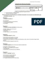 evaluación cs. Sociales cuarto básico