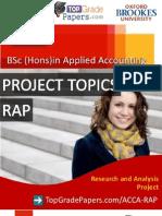 Acca - Bsc Hons Degree - Rap Topics - Top Grade Papers
