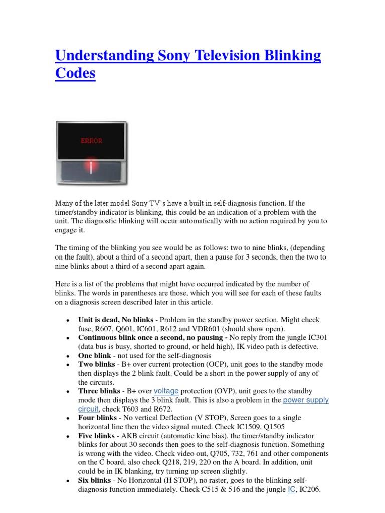 Understanding Sony Television Blinking Codes | Power Supply