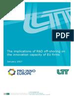 The implications of R&D off-shoring on the innovation capacity of EU firms(Eng)/ Las implicaciones de I+D extraterritoriales en la capacidad innovadora de las compañías de la UE(Ing)/ Lurraldez kanpoko I+G- ren inplikazioak EB-ko enpresen berritzeko ahalmenean(Ing)