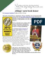 ABC Newspapers 'Reiser's Ramblings' earn book honor