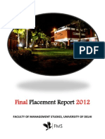 FMS Placement Report 2012