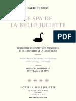 Carte des soins du Spa - Hôtel La Belle Juliette