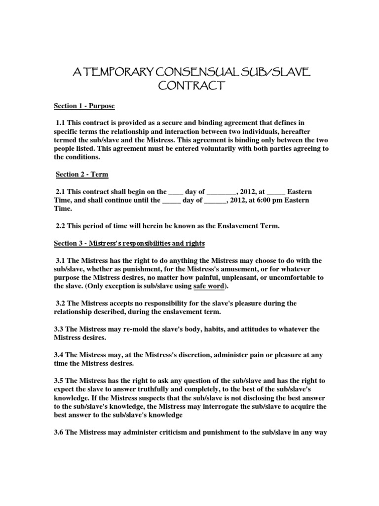 Contract Temp Cons Sub Slavery – Contract Between Two People