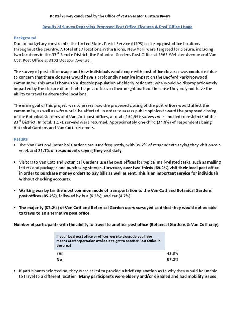 Post Office Usage Survey Fact Sheet United States Postal