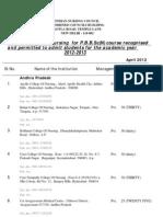 Pbbsc Recognized Nursing Institution