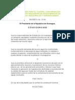 Decreto_33-95 DISPOSICIONES PARA EL CONTROL CONTAMINACION PROVENIENTES DESCARGAS DE AGUAS RESIDUALES DOMESTICAS, INDUSTRIALES Y AGROPECUARIAS de Nicaragua