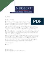 Debate Letter Dan Roberti