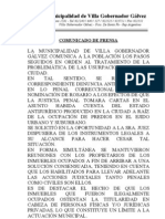Comunicado de Prensa Usurpaciones VGG