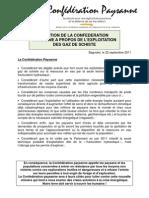 Position de la Confédération paysanne à propos de l'exploitation des gaz de schiste