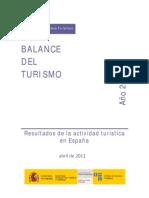 Balance turismo en España en 2010