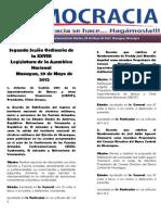 Barómetro Legislativo del martes, 29 de mayo de 2012.