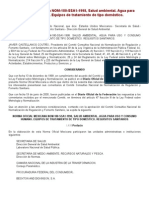 NORMA Oficial Mexicana NOM-180-SSA1-1998, Salud ambiental. Agua para uso y consumo humano. Equipos de tratamiento de tipo doméstico