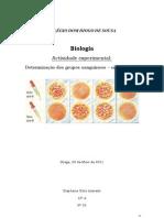 Relatório - Determinação do grupo sanguíneo