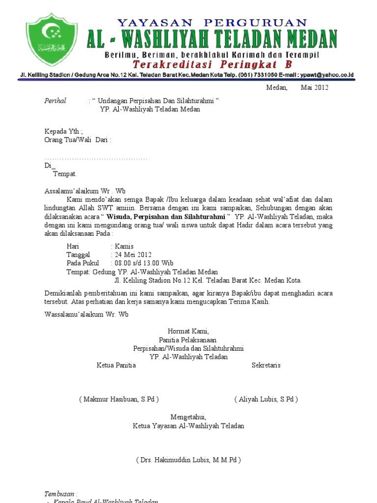 Contoh Surat Undangan Wali Murid Bahasa Inggris - Surat W