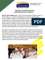 Post-Event Press Release About Santacruzan 2012, Seasons Marketplace at Landess, Milpitas, CA