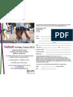 Netball Camps Flier June 2012