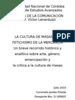 Fetichismo de La Mercancia y Cultura de Masas Ensayo Coromoto Jaraba
