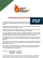 Communiqué de presse du Collectif Inter Associations Toulouse du 30 mai 2012