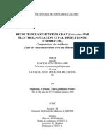 RECOLTE de LA SEMENCE de CHAT (Felis Catus) PAR Electroejaculation Et Par Dissection de l'Epididyme