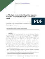 A Psicologia No Contexto Hospitalar Segundo o Conselho Federal de Psicologia e a Literatura Atual