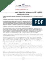 Compte-rendu du Conseil des ministres du 30 mai 2012