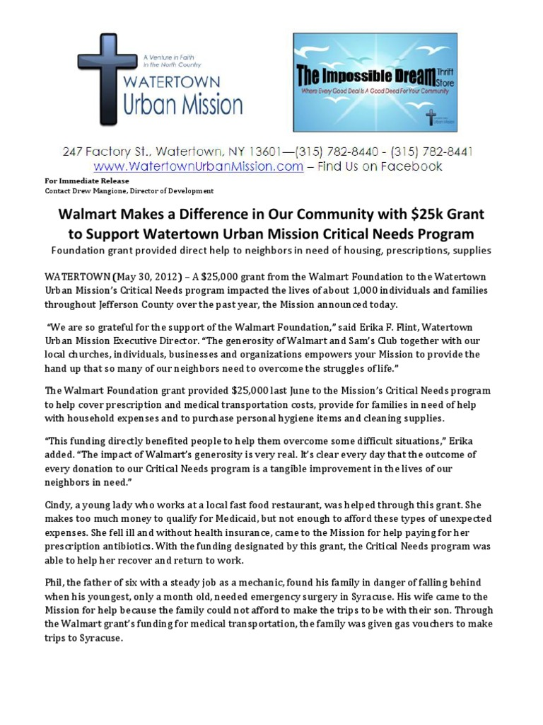 Watertown Urban Mission Received $25K Grant from Walmart