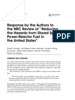 Response by the Authors tothe NRC Review of ''Reducingthe Hazards from Stored SpentPower-Reactor Fuel inthe United States