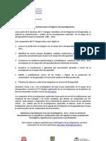 Convocatoria y lineamientos para el registro de investigaciones