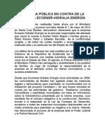DENUNCIA PÚBLICA EN CONTRA DE LA EMPRESA ESPAÑOLA  ECOENER HIDRALIA ENERGIA