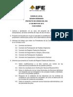 Orden del día Consejo Local Chiapas 31 05 12