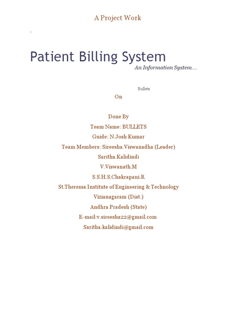 hospital billing system thesis documentation