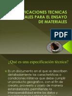 Especificaciones Tecnicas Principales Para El Ensayo de Materiales