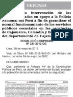 Resolucion Suprema 231-2012-De - Caso Minas Conga