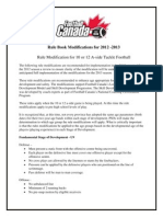 Rule Book Modifications for 2012 - 2013
