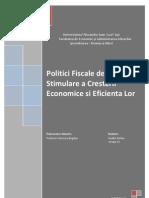 Politici Fiscale de Stimulare a Cresterii Economice Si Eficienta Lor