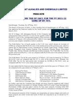Gujarat Alkalies - Press Release