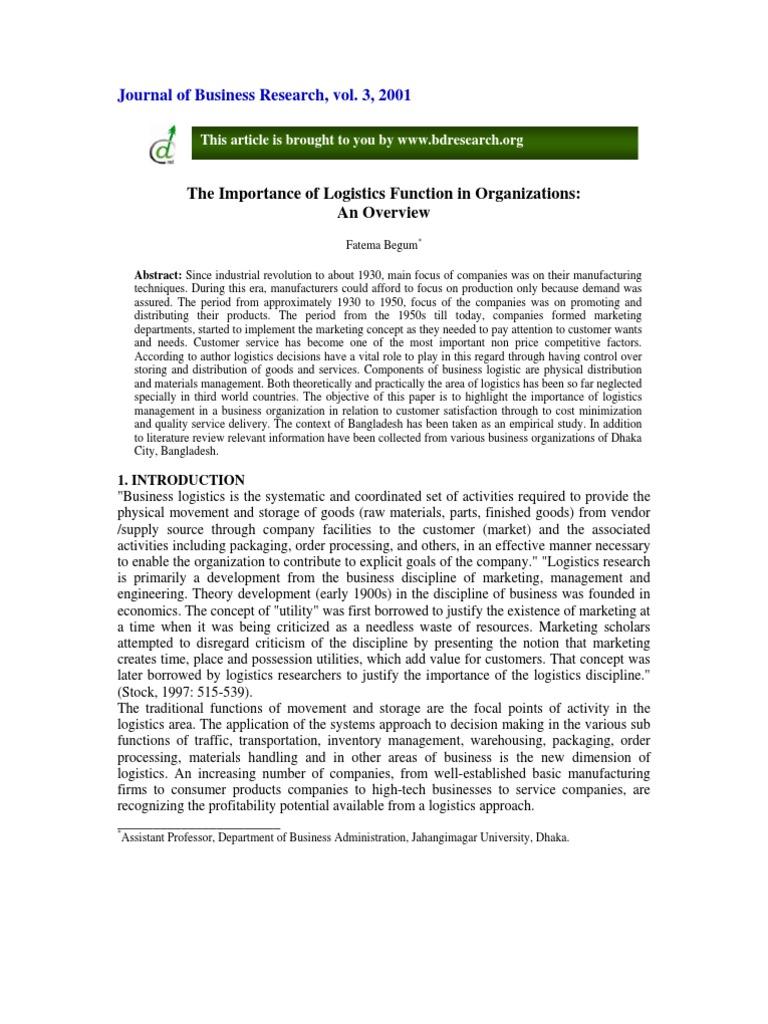 Logistics Importance | Logistics | Warehouse