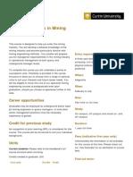CURTIN External Graduate Diploma in Mining