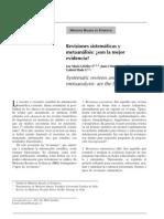 Revisiones sistemáticas y metaanálisis