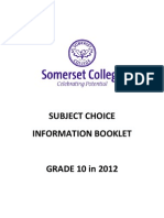 Senior Grade Subject Choices Form