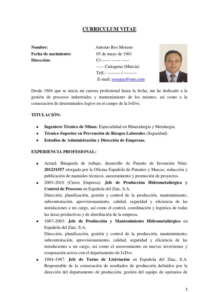 CURRICULUM VITAE.- A.Ros (Ingeniería Metalúrgica & Química)