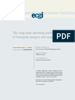 The Long Term Performance of European Merger and Acquistions