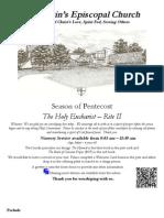 St. Martin's Episcopal Church Worship Bulletin - Pentecost 2012 - 10:15 a.m.