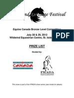 2012 Wildwind Dressage Festival Prize List
