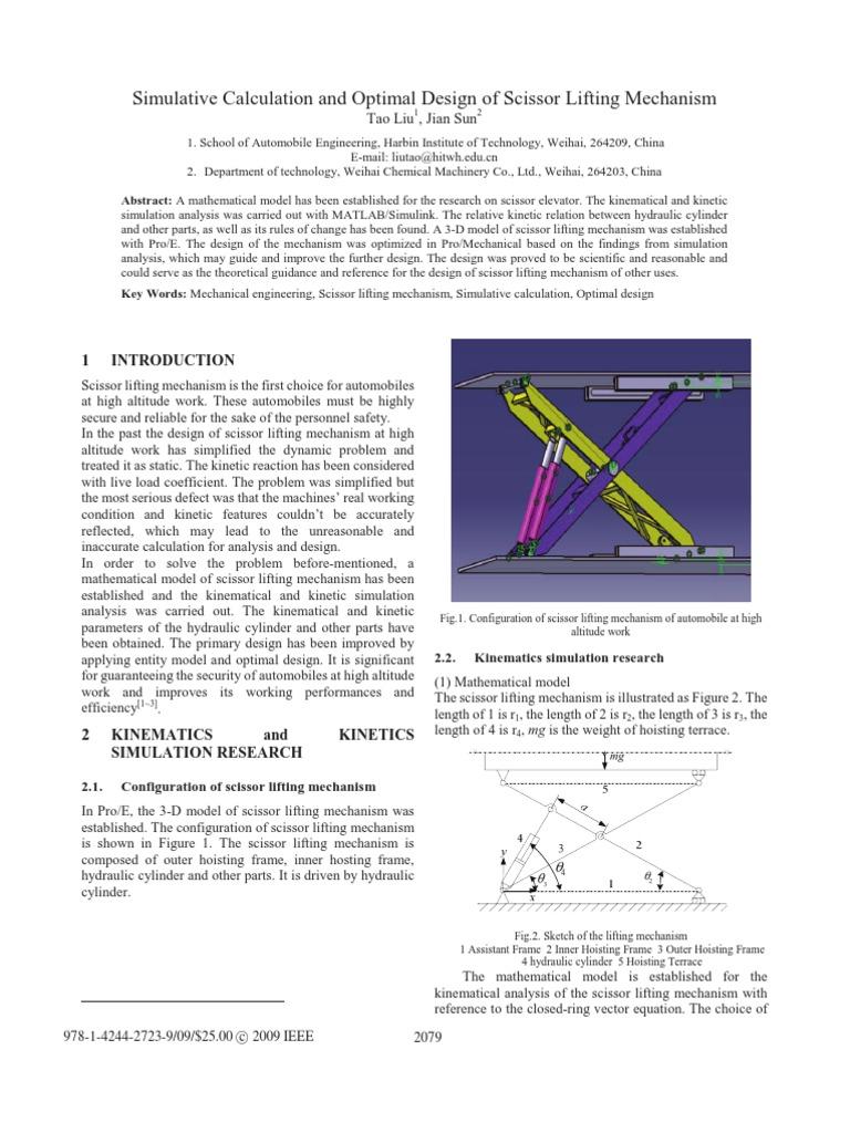 Simulative Calculation and Optimal Design of Scissor Lift ...